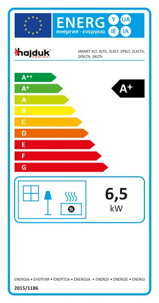 etykieta energetyczna hajduk konwekcyjne fafeed36 - Wkład kominkowy Hajduk Smart 2LXLT - drzwiczki bezramowe