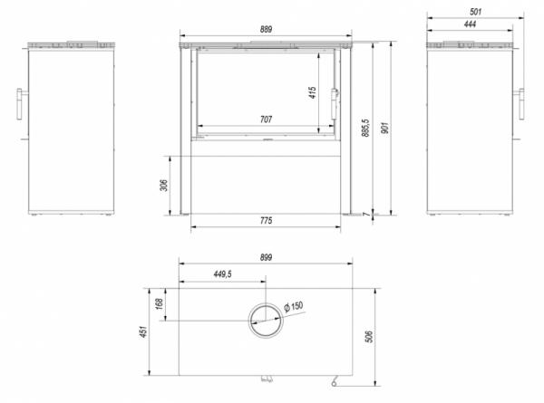 juno rys 600x445 - Freestanding STOVE JUNO 12 panel black