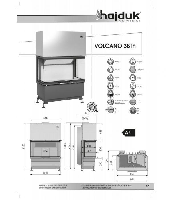 wklad kominkowy hajduk volcano 3bth 600x703 - Wkład kominkowy Hajduk  Volcano 3BTh - drzwiczki bezramowe