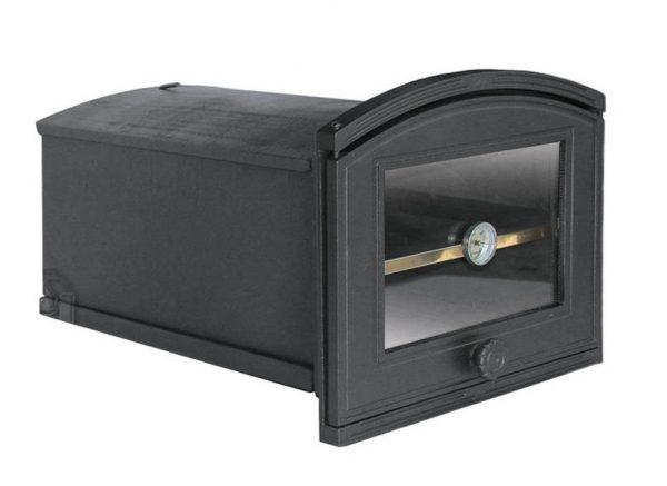 ce224f193a85f49074912ee72188205c 600x437 - Piekarnik żeliwny z szybą i termometrem PŻE1T ( otwierany w lewo)