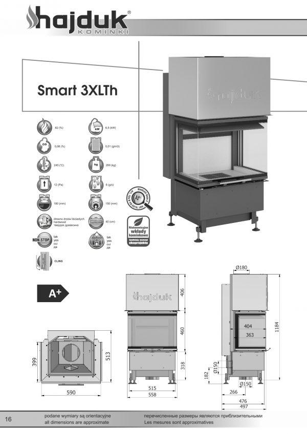 Smart 3XLTh karta techniczna 600x849 - Wkład kominkowy Hajduk Smart 3XLTh