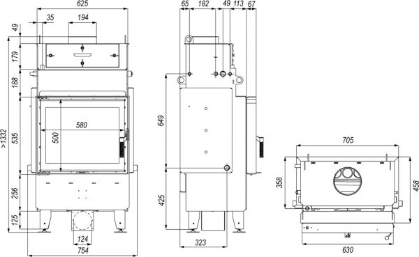 navi sm 1 600x369 - Wkład kominkowy DEFRO Navi SM