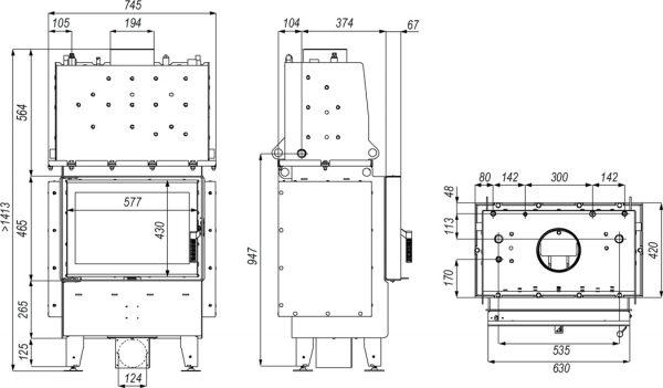 riva sm 600x351 - Wkład kominkowy DEFRO RIVA SM SHORT czarny