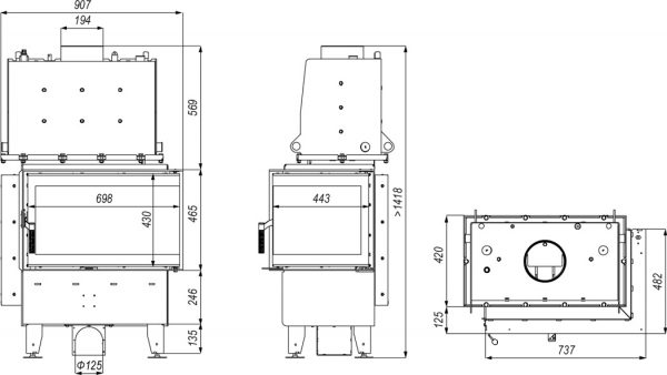 riva sm bp 600x338 - Wkład kominkowy DEFRO RIVA SM BP SHORT