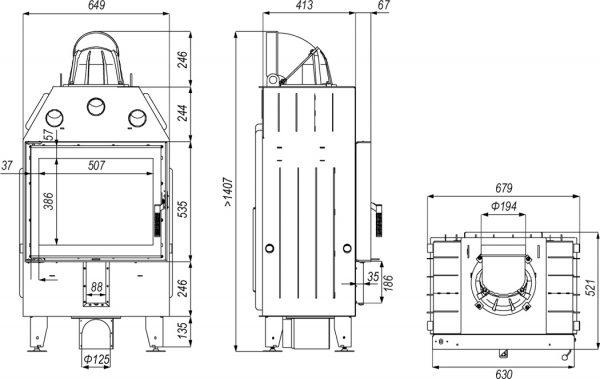 defro home prima sm 600x379 - Wkład kominkowy DEFRO HOME INTRA SM czarny