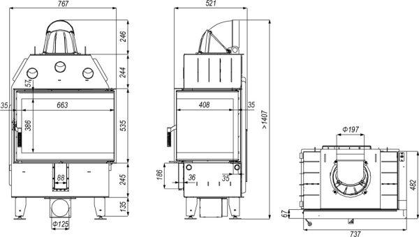 defro home prima sm bp 600x340 - Wkład kominkowy DEFRO HOME INTRA SM BP czarny