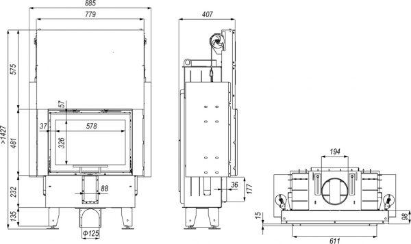 intra sm slim g 600x357 - Wkład kominkowy DEFRO HOME INTRA SM G slim