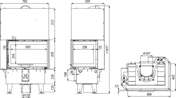 defro home prima sm bp mini g 600x334 - Wkład kominkowy DEFRO HOME INTRA SM BL G MINI