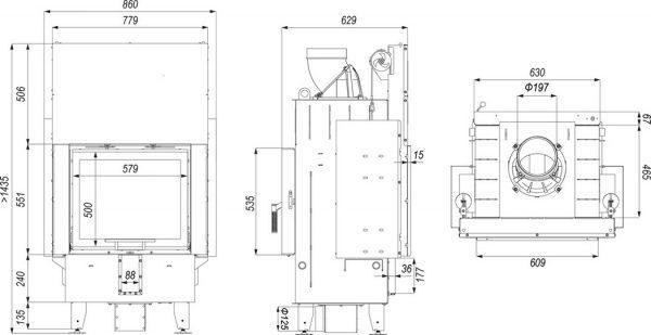 defro home prima sm t g 600x309 - Wkład kominkowy DEFRO HOME INTRA SM T G