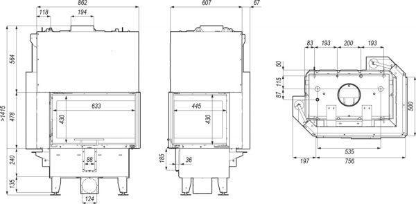 riva sm bl bp g 600x295 - Wkład kominkowy DEFRO RIVA SM BP G SHORT