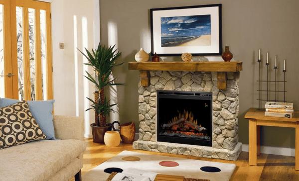 fieldstone 600x364 - Electric fireplace Fieldstone ECO LED