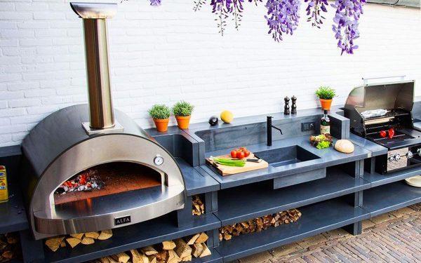 4 pizze outdoor living garden pizza oven 1200x750 600x375 - Piec do pizzy Alfa Forni 4 PIZZE szary z podstawą
