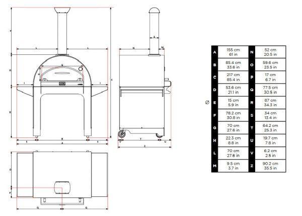 4 pizze podstawa wymiary 600x429 - Piec do pizzy Alfa Forni 4 PIZZE miedziany z podstawą