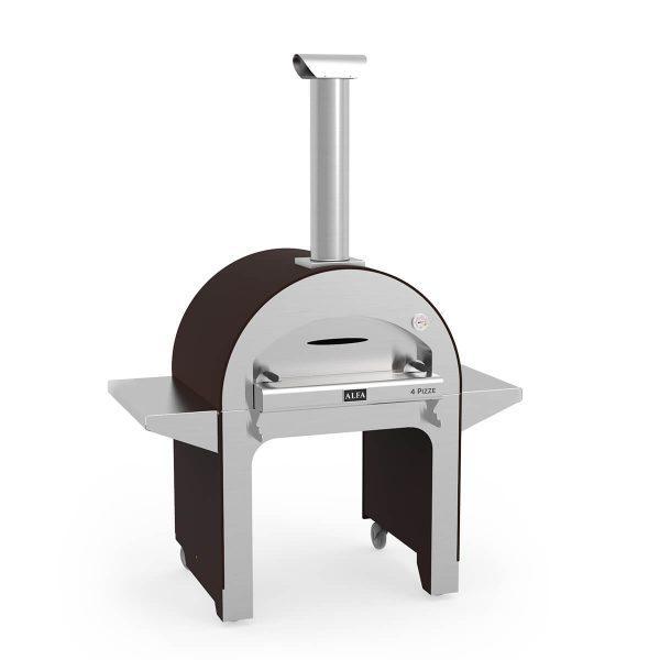 4pizze base copper wood iso 600x600 - Piec do pizzy Alfa Forni 4 PIZZE miedziany z podstawą