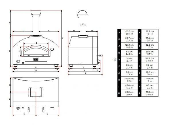 Stone Oven wymiary 600x438 - Hybrydowy piec do pizzy Alfa Forni Stone Oven (na gaz i drewno)