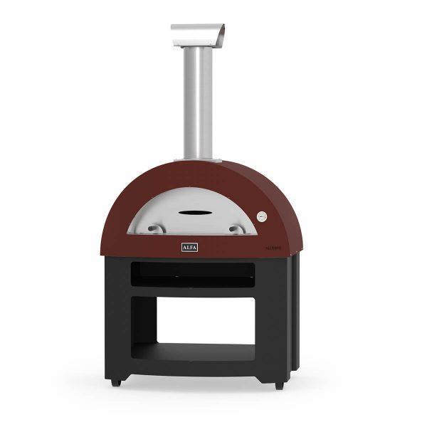 allegro base red wood alfa forni domestic ovens 600x600 - Piec do pizzy Alfa Forni Allegro czerwony z podstawą