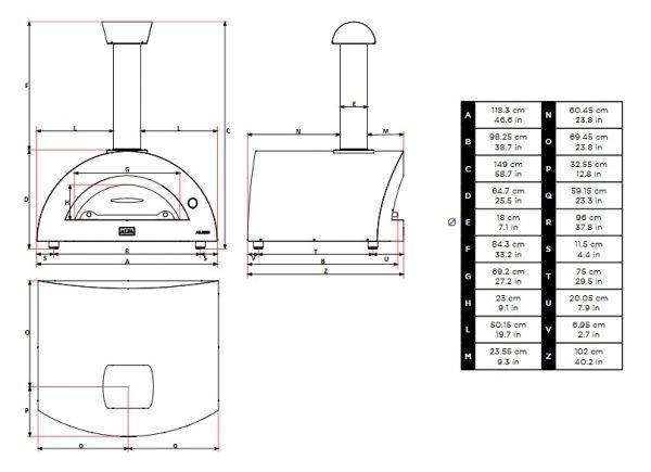 allegro wymiary 1 600x435 - Piec do pizzy Alfa Forni Allegro czerwony z podstawą