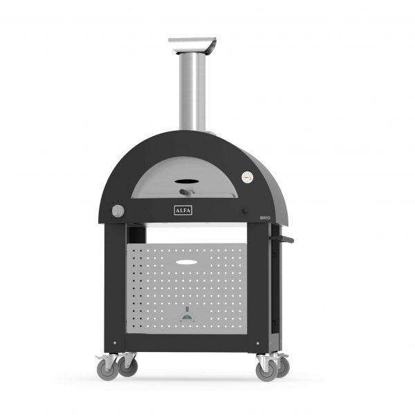 base brio black 600x600 - Hybrydowy piec do pizzy Alfa Forni BRIO czerwony z podstawą (drewno, gaz)