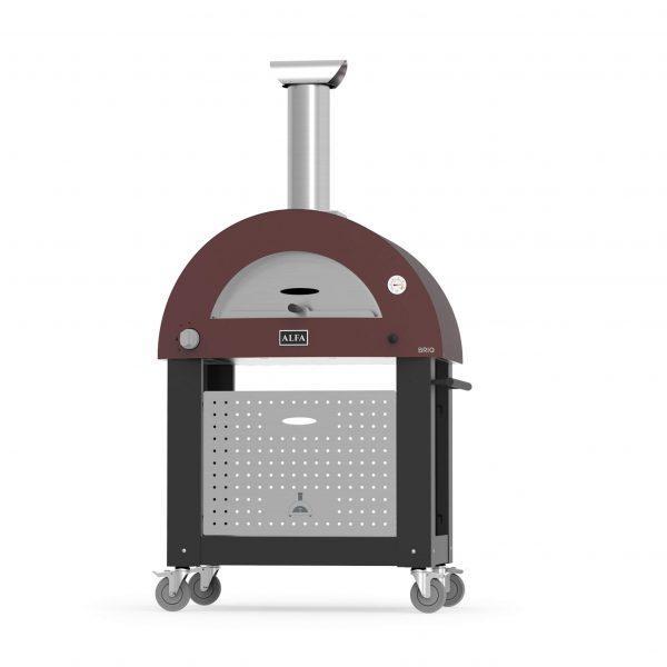 base brio red 600x600 - Hybrydowy piec do pizzy Alfa Forni BRIO czerwony z podstawą (drewno, gaz)