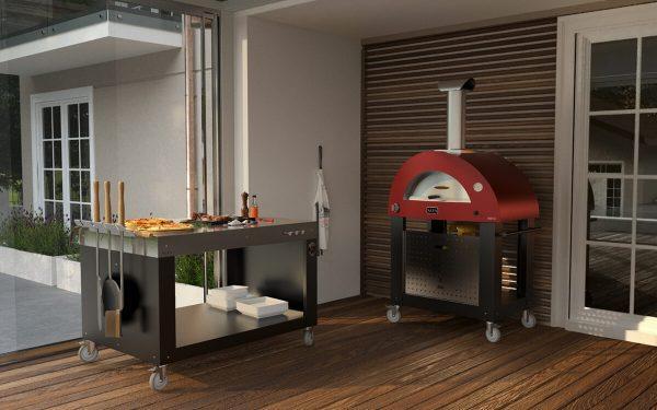 brio pizza oven outdoor kitchen 1200x750 600x375 - Hybrydowy piec do pizzy Alfa Forni BRIO czerwony z podstawą (drewno, gaz)