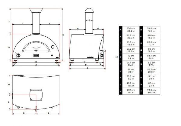brio wymiary 600x419 - Hybrydowy piec do pizzy Alfa Forni BRIO srebrno-czarny (drewno, gaz)