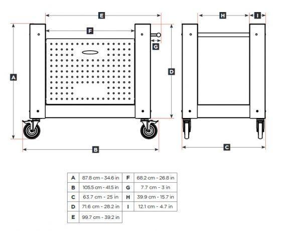 brio wymiary podstawa 600x460 - Hybrydowy piec do pizzy Alfa Forni BRIO czerwony z podstawą (drewno, gaz)