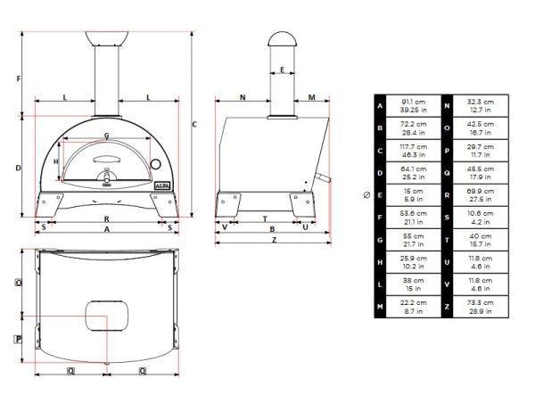 ciao wym 600x452 - Piec do pizzy Alfa Forni CIAO żółty