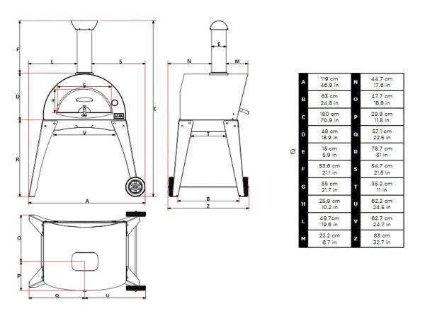 ciao wym podstawa 600x450 - Piec do pizzy Alfa Forni CIAO szary z podstawą