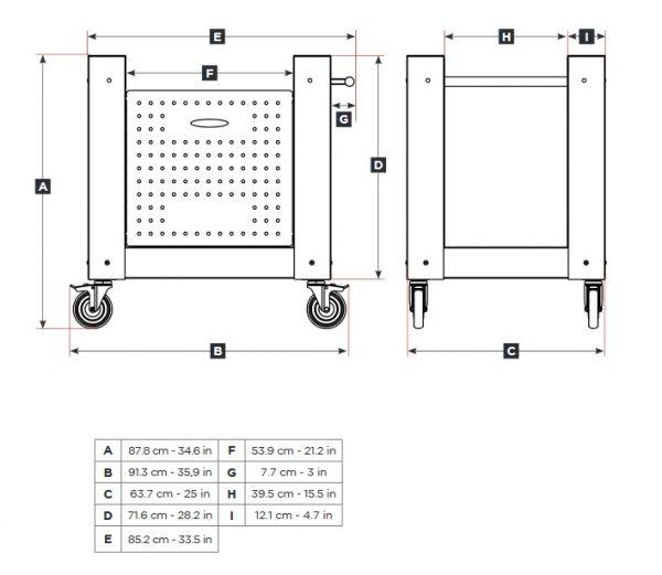 wymiary podstawy 5 minut 600x521 - Piec do pizzy Alfa Forni 5 MINUTI Miedziany z podstawą