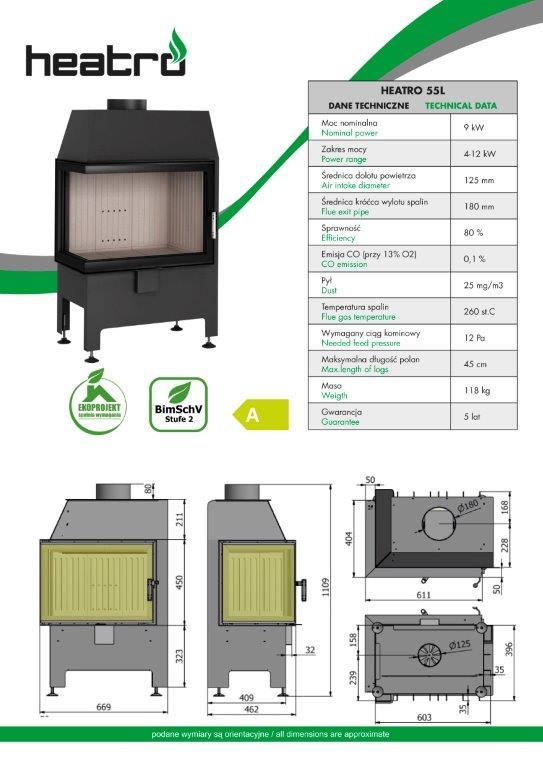 2020 06 08 katalog techniczny Heatro Part3 - Fireplace insert Hajduk Heatro 55L