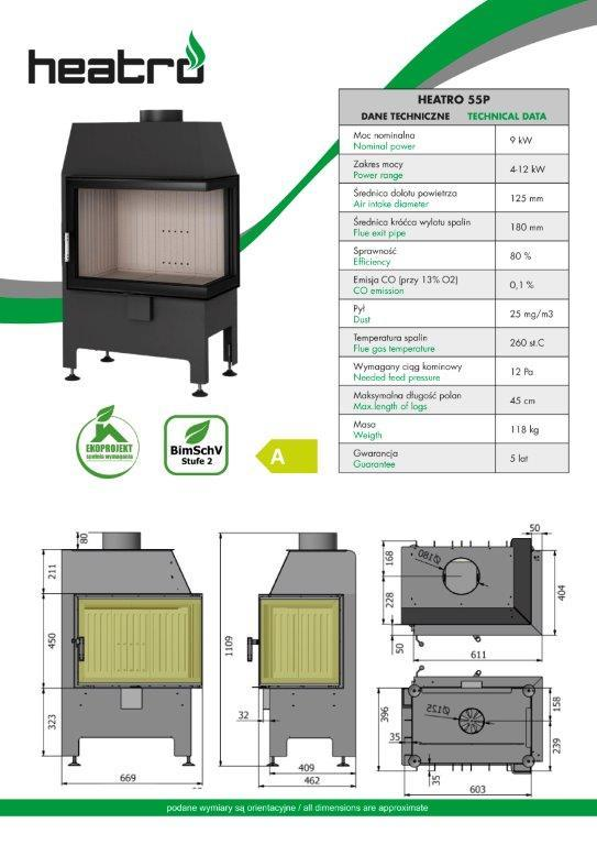 2020 06 08 katalog techniczny Heatro Part4 - Fireplace insert Hajduk Heatro 55P