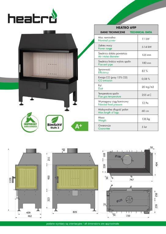 2020 06 08 katalog techniczny Heatro Part10 - Fireplace insert Hajduk Heatro 69P