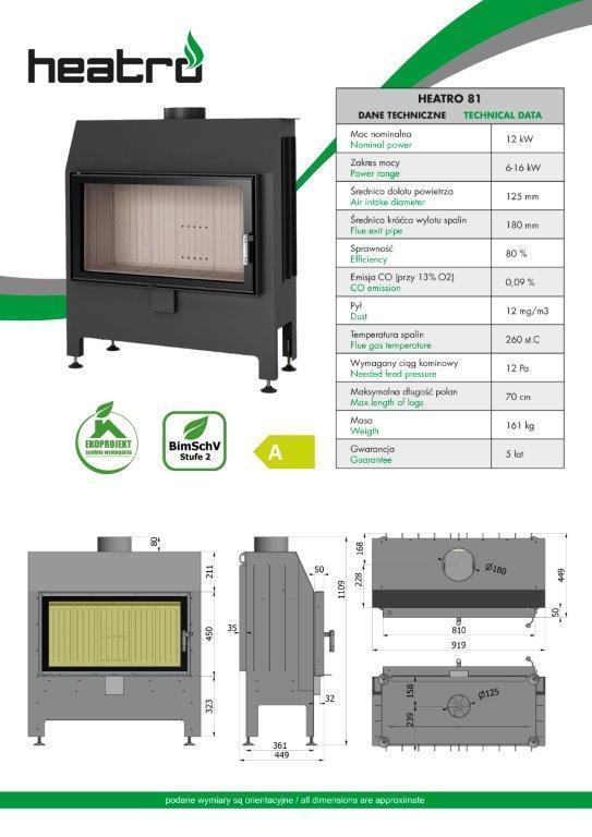 2020 06 08 katalog techniczny Heatro Part14 - Fireplace insert Hajduk Heatro 81