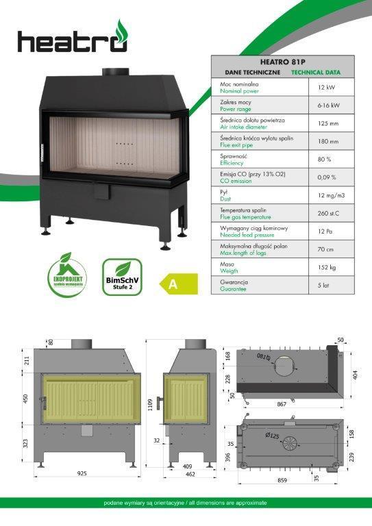 2020 06 08 katalog techniczny Heatro Part16 - Fireplace insert Hajduk Heatro 81P