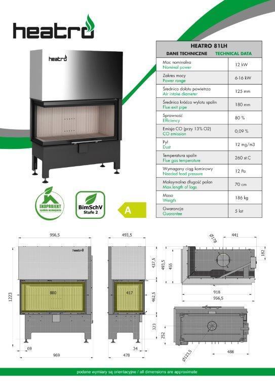 2020 06 08 katalog techniczny Heatro Part18 - Fireplace insert Hajduk Heatro 81LH