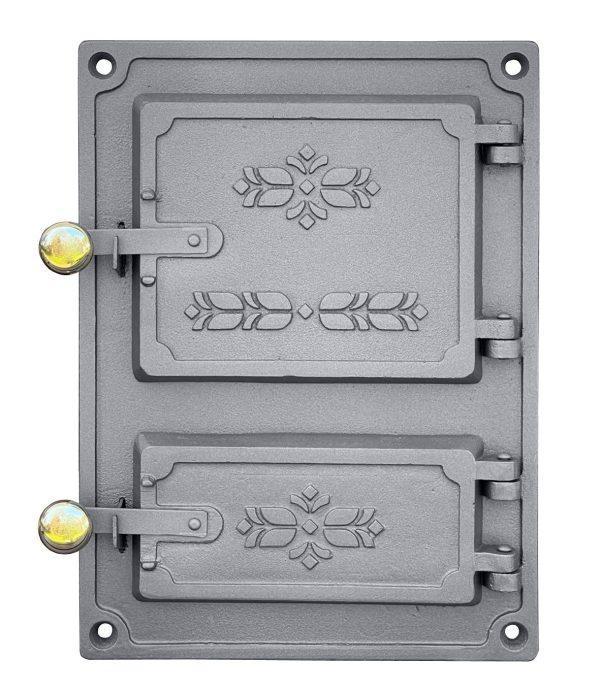 dpk4m 600x693 - Drzwiczki żeliwne kuchenne  DPK 4M mosiężnymi gałkami